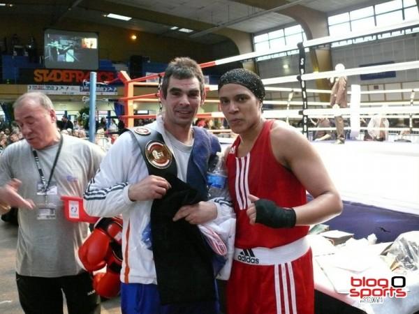 Gihade Lagmiry et son entraîneur (US Chambray les Tours) championne de France en -68kg